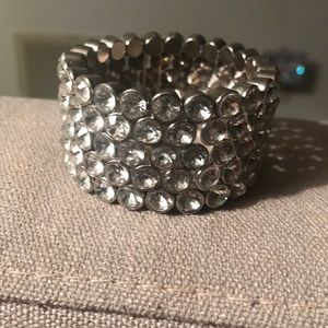 Costume bracelet with clear rhinestone